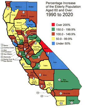 California map of those aged 60+ by county