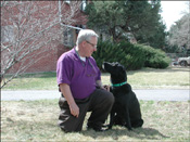 Bill Dailey and his Seeing Eye Dog Merlin